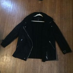 Faux Suede Black Moto Style Winter Coat